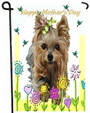 YORKIE painting GARDEN FLAG Dog Art Yorkshire Terrier puppy Happy Mother's Day