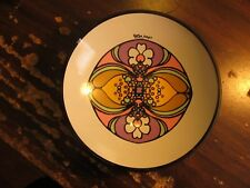 """Peter Mayco painted glassware bowl dish  7"""" with display stand"""
