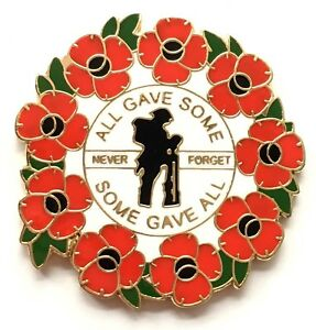 Lest We Forget  Wreath We Will Remember Them Remembrance Lapel Pin Badge