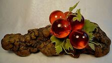 Vintage DRIFTWOOD w/Red LUCITE Grapes Cluster w/Leaves