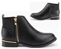 LADIES WOMENS BLACK LOW HEEL FLAT CHELSEA GOLD ZIP UP ANKLE SHOES BOOTS SIZE 3-8