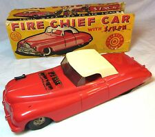 RARE OLD TIN PLATE & PLASTIC MARX TOYS FRICTION DRIVE FIRE CHIEF CAR C1950-60S