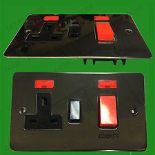 2 Toma, Negro Níquel, 13a GB 3 Pin Red Eléctrica Enchufe, 45a Cocina