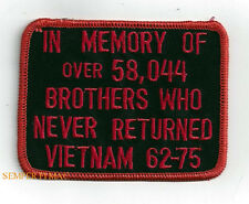 VIETNAM IN MEMORY 58044 POW MIA HAT PATCH US ARMY NAVY AIR FORCE MARINE MEMORIAL