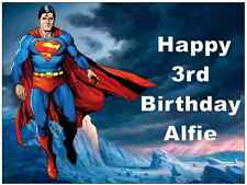 Superman A4 Personalised Cake Topper Edible Wafer Paper Birthday Partys
