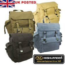 HIGHLANDER LARGE WEBBING CANVAS BACKPACK POCKETS Military ARMY Vetro Style Army