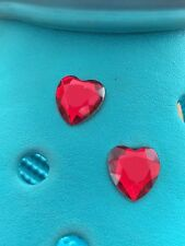 2 Ruby Red Gem Heart Shoe Charms For Crocs & Jibbitz Wristbands