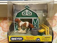 RARE Stablemates Mare & Foal Pocket Barn [2007] 2 Horses, Barn, Fence Acces NEW