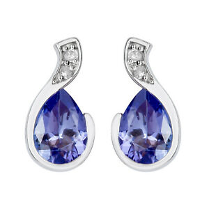 10k Weiss Gold Original Birnenförmiger Tansanit und Diamant Ohrringe