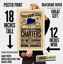 YOUR NAME on a Salt water Charter Fishing poster Personalized - deep sea fishing
