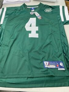FAVRE # 4 NEW YORK JETS STITCHED EQT GREEN XLARGE REEBOK JERSEY IN HALL OF FAME