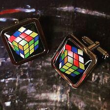 Unique! RUBIKS CUBE CUFFLINKS chrome GIFT puzzle BOXED designer RUBIX rubik's