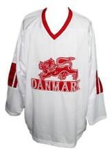 Custom Name   Denmark Danmark Retro Hockey Jersey New White Any Size f68c2000e