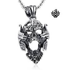 Silver skull pendant stainless steel Replica ZARUBA garo necklace 60cm