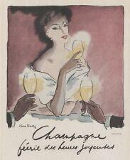 """""""CHAMPAGNE"""" Annonce originale entoilée  par Pierre SIMON 1948    27x34cm"""