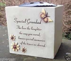 MEMORIAL GRAVESIDE POT WITH BUTTERFLY FLOWERS STONE BOWL ORNAMENT REMEMBRANCE