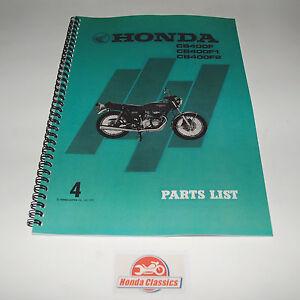 Honda CB400F 400/4 400 Four 1970s Factory Parts List Book. HPL001