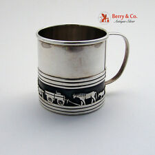 Native American Baby Cup Horses Wagon Sterling Silver 1930 No Monogram