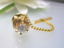 0.5ct. single nature Diamond gold tie tack pin + gold plated safety chain cap