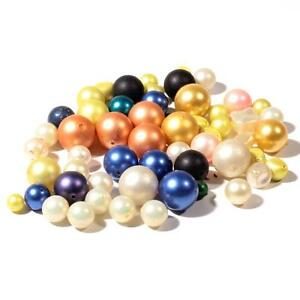 Lot (56) Czech vintage pearl coated plastic beads craft Christmas