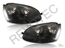 2006-2009 VW Rabbit Jetta GTI Black Housing Halogen Headlights RH & LH