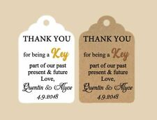 10 Kraft Gift Tags Wedding Favour Bomboniere Personalised Thank You Key part