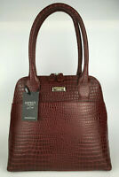 OSPREY LONDON Polished Leather Handbag Oxblood Red Annie Womens GIFT