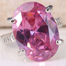Oval Cut Natural 6CT Pink Sapphire 925 Silver Women Men Wedding Ring Size 6-10