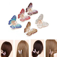 Women Butterfly Claw Crystal Multi Color Rhinestone Hair Clip Clamp Hairpin