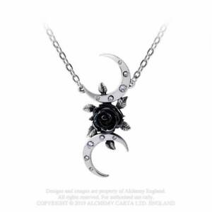 Alchemy Gothic The Black Goddess Pewter Crescent Moon Pendant Necklace - Goth...