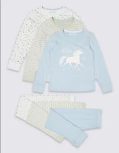 BNWT M&S 3 Pack Girls Unicorn Star Stripe Blue Grey Mix Match Pyjamas