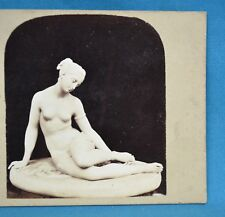 1850/60s Stereoview Photo Still Life Of Sculpture Statue Eve At The Bath