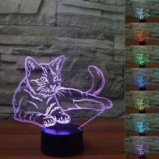 3D Cute Cat Night Light 7 Color Change LED Desk Lamp Touch Room Decor Kids Gift