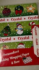 Personalized gift wrap wrapping Christmas xmas NIP Crystal green tree angel