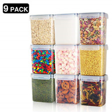 9 Pieces Food Storage Containers Plastic Kitchen Pantry Sugar Flour Baking Su...