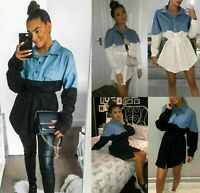 Womens Ladies Denim Contrast Tie Waist Button Up Collared Jacket Shirt Dress Top