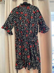 Boohoo Size 16 Fit & Flare Dress Rose Floral Summer Dress