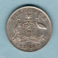 Australia.  1920 Sixpence..  Part Lustre..  gVF - 8 Pearls (just visible)