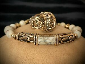 Barse Thailand Variegated Stone Gold Tone Scroll Bracelet & Earrings Set