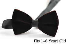 Baby Kids Page Boy Toddler Brown Coffee Velvet Bowtie Bow Tie 1 to 6 Years Old