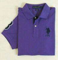 Men US Polo ASSN Pony Short Sleeves Striped-Collar Classic Mesh Shirt M L XL XXL