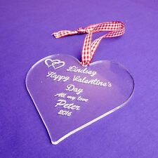 Personalised Valentine's Decoration Acrylic Heart Gift Engraved With Any Message