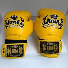NEW 10OZ TOP KING Boxing gloves Solid Yellow / Black Muay Thai