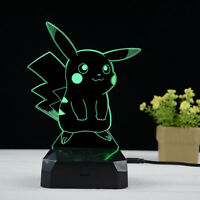 Pikachu 3D Night Light LED Lamp 16 Color Changing USB Rechargable Remote Control