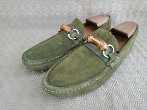 Gucci 253675 men's suede bamboo horsebit driver's loafer green size 6 G made in