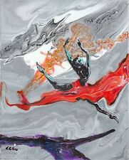 "Ballerina ""Leap (vi)"" Original Acrylic Abstract Painting, Artist Signed"