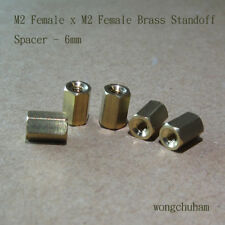 M2 Female x M2 Female Brass Standoff Spacer 6mm - 25 pcs