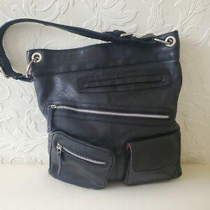 Osprey Leather Shoulder Shopper Bag Black M/L