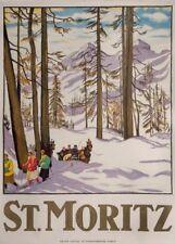 Vintage Ski Posters ST. MORITZ, Swiss, 1918, by Emil Cardinaux, A3 Travel Print