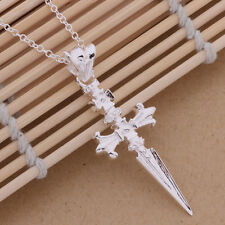 Necklace Cross Chain Crucifix Gothic Pendant Men 925 Sterling Silver Plated